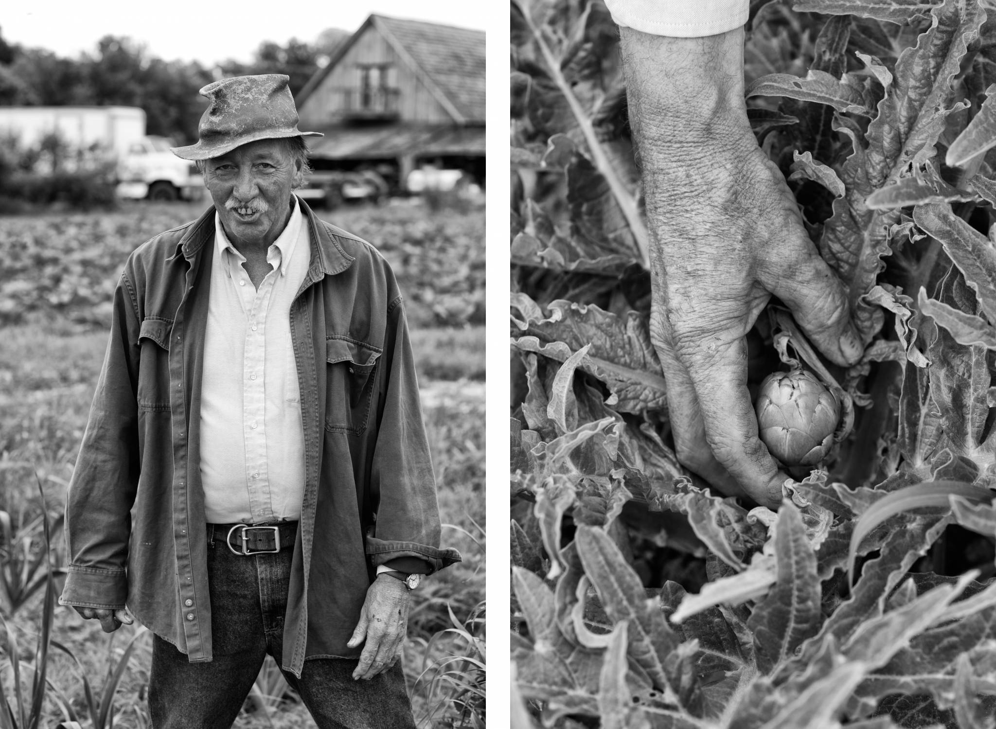 environmental portrait farmer with produce senior citizen