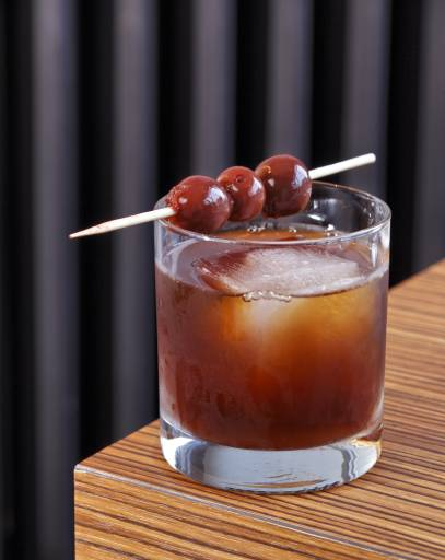 food and beverage photography 3 cherry manhattan mixed drink