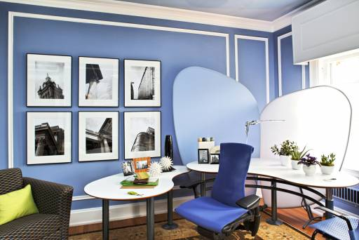 architectural photo show house home office lime and periwinkle office