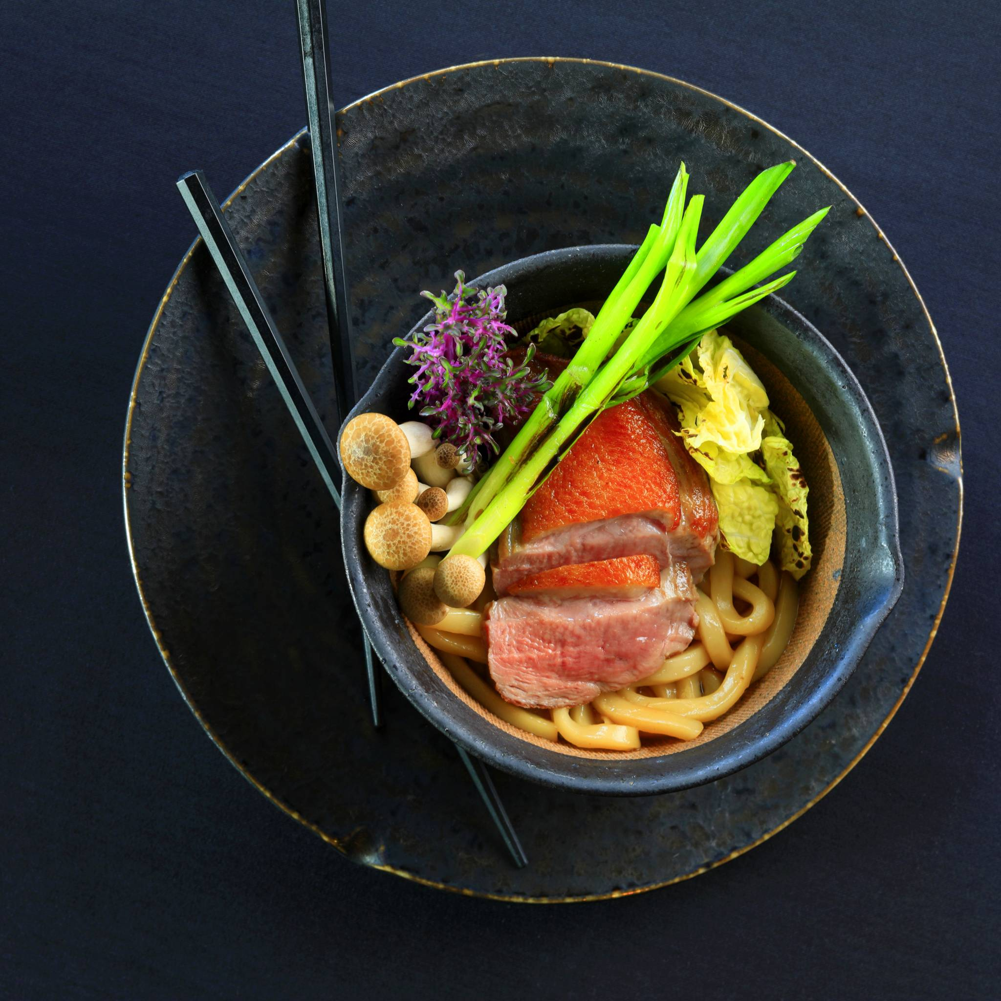 duck breast with udon noodle