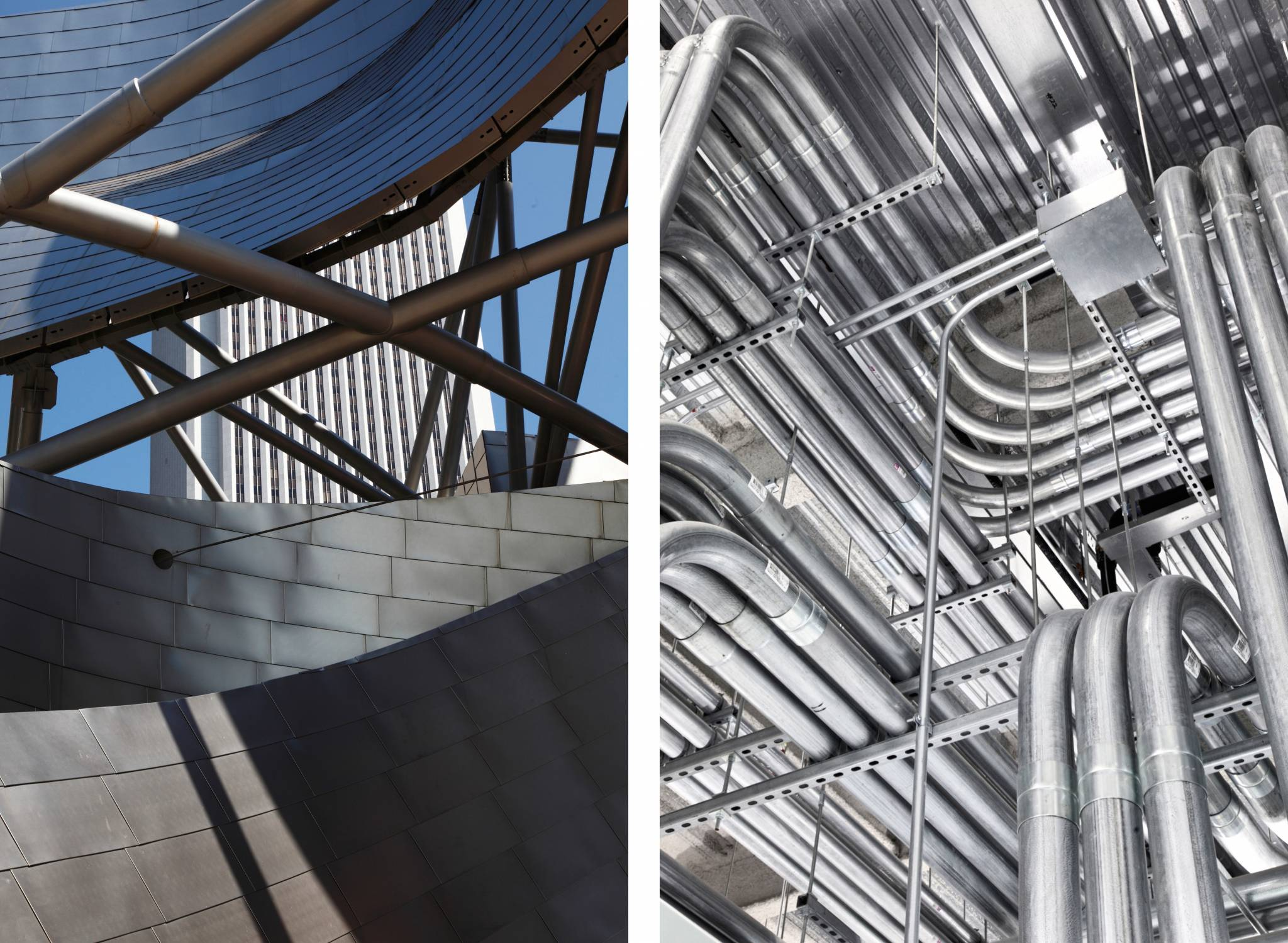 architectural photography steel structures frank gehry  interior conduit at gvi